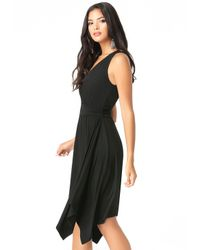 Bebe | Black Surplice Handkerchief Dress | Lyst