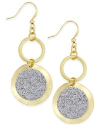 Style & Co. | Metallic Glitter Circle Drop Earrings | Lyst