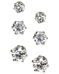 Anne Klein | Metallic Silver-tone Glass Stone Stud Earring Set | Lyst