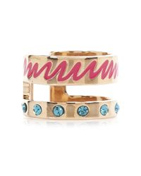 MFP MariaFrancescaPepe   Pink 23Kt Rose Gold Plated Swarovski Midi Ring   Lyst