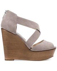 Michael Kors - Gray Michael Arielle Platform Wedge Sandals - Lyst