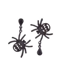 Betsey Johnson Pitch Black Spider Non-matching Earrings
