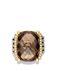 David Yurman Brown Wheaton Ring With Smoky Quartz And Diamonds And Gold