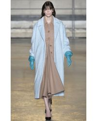Rochas - Pale Blue Wool Alpaca Coat - Lyst