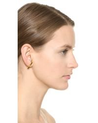 Vita Fede | Metallic Comma Right Earring With Crystal Ball - Gold | Lyst