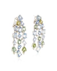 Gioia | Multicolor Blue & Green Sapphire And Diamond Drop Earrings | Lyst