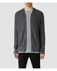 AllSaints - Gray Metz Cardigan for Men - Lyst