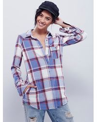 Free People | Blue We The Free Womens We The Free Slub Flannel Buttonup | Lyst