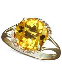 Effy Collection | Metallic Gemma By Effy Citrine (3-1/8 Ct. T.w.) And Diamond (1/8 Ct. T.w.) Swirl Ring In 14k Gold | Lyst
