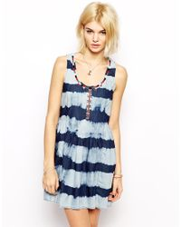 Mango - Blue Denim Striped Dress - Lyst