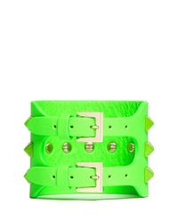 Valentino - Green Rockstud Wide Leather Bracelet - Lyst