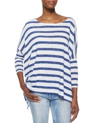 Ralph Lauren Black Label - Blue Striped Boat-Neck Dolman Top - Lyst