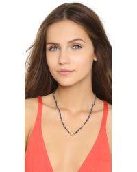 Sogoli - Blue Braided Knot Necklace - Navy/lemon - Lyst