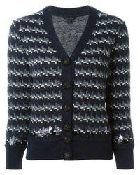 Marc Jacobs - Blue Intarsia Embellished Cardigan - Lyst