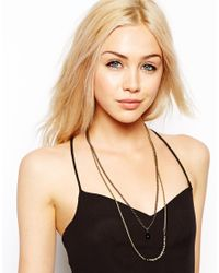 ASOS | Multicolor Limited Edition Double Row Chain Necklace with Semi Precious Bead | Lyst