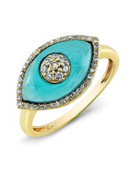Anne Sisteron | 14kt Yellow Gold Blue Topaz Diamond Evil Eye Ring | Lyst