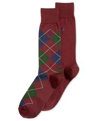 Polo Ralph Lauren | Purple Argyle And Solid Crew Socks 2-pack for Men | Lyst