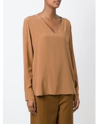 Sportmax - Brown V-neck Blouse - Lyst