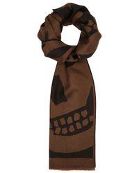 Alexander McQueen - Black Skull-intarsia Wool Scarf for Men - Lyst
