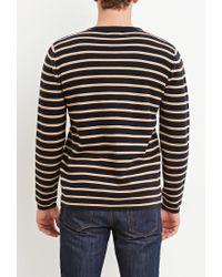 Forever 21 | Blue Stripe-patterned Cotton Tee for Men | Lyst