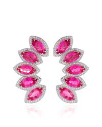 Dana Rebecca - Pink Tourmaline and Diamonds Earrings in White Gold - Lyst