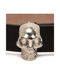 Alexander McQueen - Black Studded Leather Wrap Skull Bracelet - Lyst