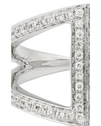 Noor Fares - Metallic Rhombus Pinkie Ring in White Gold and White Diamonds - Lyst