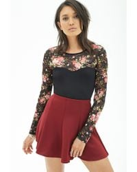 Forever 21 - Black Floral Lace Illusion Top - Lyst