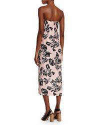 Cedric Charlier - Pink Strapless Wrap-front Georgette Dress - Lyst