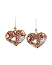 Betsey Johnson - Metallic Goldtone Pink Crystal Heart Drop Earrings - Lyst