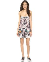 MSGM | Pink Floral Strapless Dress - Blush/nude | Lyst