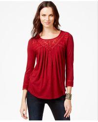 Lucky Brand | Red Lucky Brand Three-quarter-sleeve Crochet-detail Top | Lyst