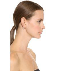 Vita Fede   Metallic Double Cubo Pearl Earrings - Gold/Pearl/Clear   Lyst