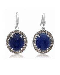 Bavna | Sterling Silver Blue Sapphire And Diamond Drop Earring | Lyst