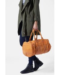 TOPSHOP   Brown Large Leather Sports Bag   Lyst