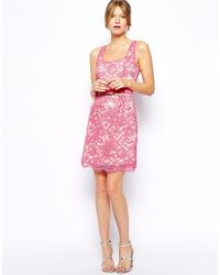 Oasis - Pink Lace Lantern Dress - Lyst