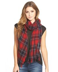 The Kooples - Red Check Wool & Cashmere Scarf - Lyst