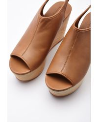 Forever 21 - Brown Faux Leather Slingback Wedges - Lyst