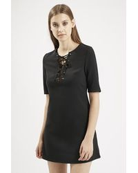 TOPSHOP - Black Front Tie Up Shift Dress By Glamorous - Lyst