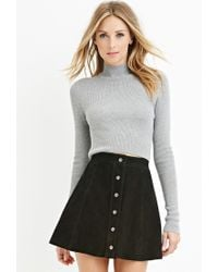 Forever 21 | Gray Contemporary Mock Neck Ribbed Sweater | Lyst