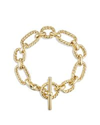 David Yurman | Metallic Cushion Link Bracelet With Diamonds In 18k Gold | Lyst