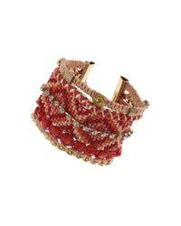TOPSHOP - Pink Fabric Bead Bracelet - Lyst