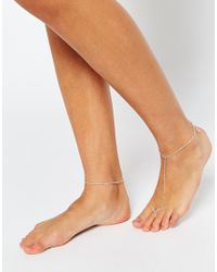 ASOS | Metallic Fine Bar Anklet & Foot Harness Pack | Lyst