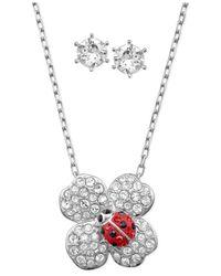Swarovski | Red Rhodium-Plated Crystal Stud Earrings And Ladybug Flower Pendant Necklace Set | Lyst