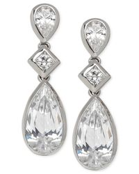 Arabella | Metallic Swarovski Zirconia Triple Drop Earrings In Sterling Silver | Lyst