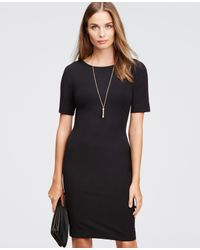 Ann Taylor | Black Short Sleeve Contour Dress | Lyst