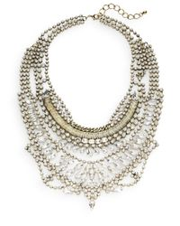 Cara Couture - Metallic Multi-row Mixed White Stone Statement Bib Necklace/goldtone - Lyst