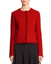 Akris Punto - Red Collarless Fringe Tweed Jacket - Lyst