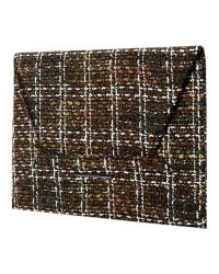 Mango - Brown Tweed Flap Clutch - Lyst