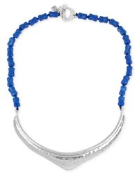 Robert Lee Morris | Silver-tone Sculptural Blue Bead Frontal Necklace | Lyst